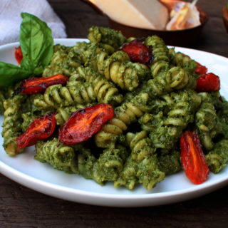 Pesto Pasta with Hemp Hearts and Candied Tomatoes